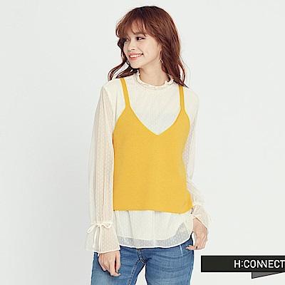 H:CONNECT 韓國品牌 女裝 - 蕾絲針織背心上衣-黃