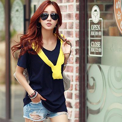 馬卡龍素面亮色長版T恤 (共七色)-N.C21