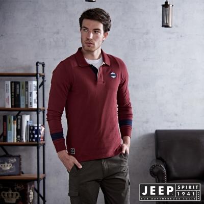JEEP 美式運動風POLO衫  合身版- 紅木色