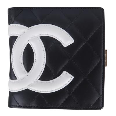 CHANEL 經典康朋系列造型扣式短夾(黑白)