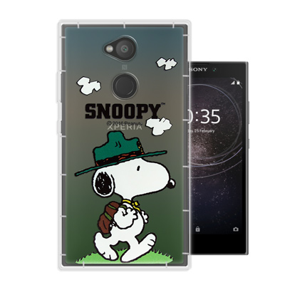 史努比SNOOPY 正版授權 SONY Xperia L2 漸層彩繪空壓手機殼(郊遊)