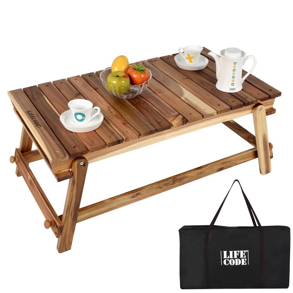 LIFECODE 相思木野餐桌/和室桌-附背袋