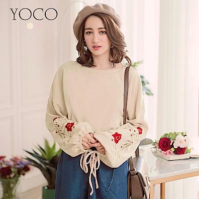 東京著衣-yoco輕甜休閒玫瑰刺繡泡泡袖綁帶上衣-S.M.L共二色