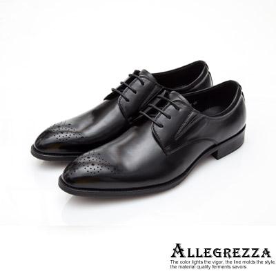 ALLEGREZZA-真皮男鞋-復古紳士-真皮復古藝紋雕花尖頭綁帶皮鞋  黑