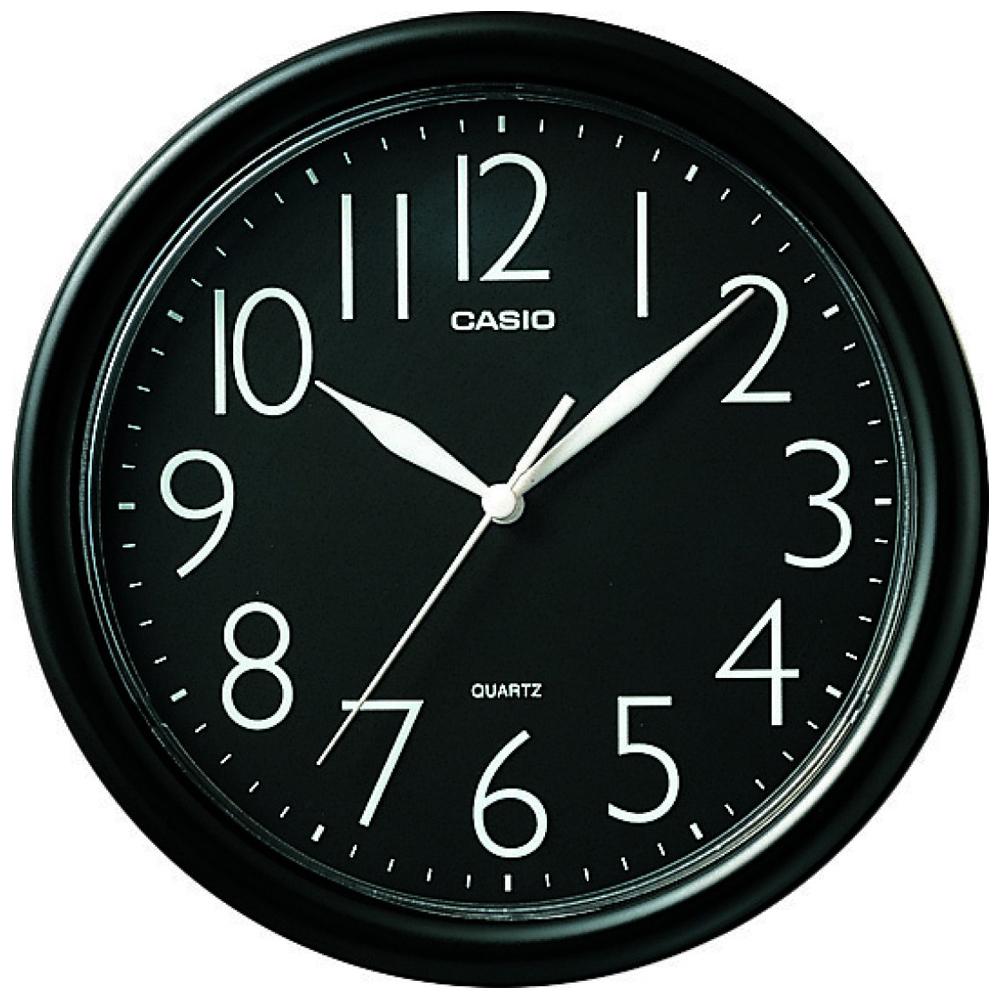 CASIO 流線大方指針圓形掛鐘(IQ-01S-1)-黑/24.5cm