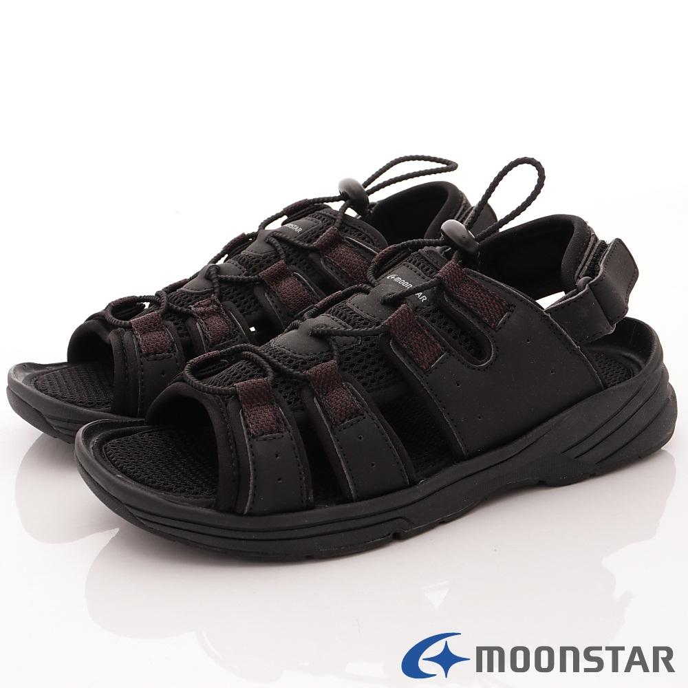 日本Moonstar戶外健走鞋-免綁帶涼鞋款-1836黑(男段)