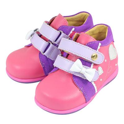 Swan天鵝童鞋-小水鑽與愛心蝴蝶結矯正鞋 9312-桃