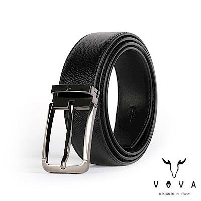 VOVA 紳士方頭穿針式蛇紋皮帶 - 鎗色