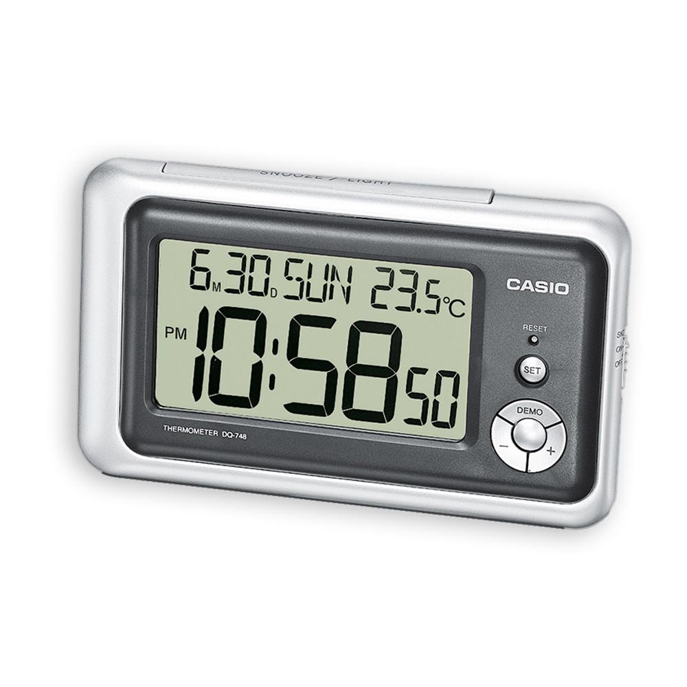 CASIO 測溫型數字電子鬧鐘(DQ-748-8)-銀黑