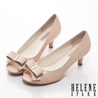 HELENE-SPARK-羊皮蝴蝶結魚口高跟鞋-粉