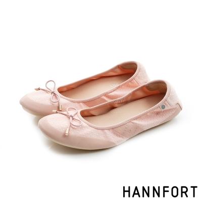 HANNFORT FLEX360蝴蝶結緹花娃娃鞋-女-淺粉色