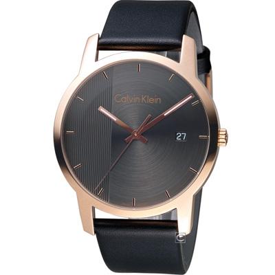 ck City 都會系列皮帶手錶(K2G2G6C3)黑x玫瑰金/43mm