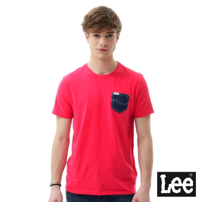 Lee 短袖T恤  牛仔口袋短袖圓領TEE/RG-男款-紅
