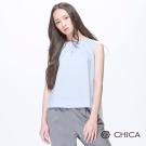 CHICA 百摺斜切襬無袖簡約上衣(2色)