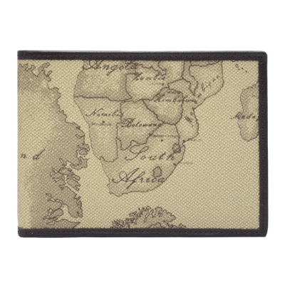 Alviero Martini 義大利地圖包  經典8卡證件短夾-地圖灰