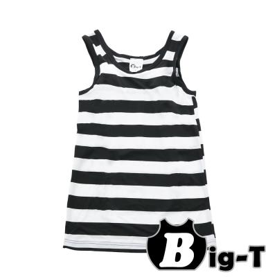 泳衣束胸-黑白寬條紋無袖套頭泳衣褲組-3XL-5XL-BIG-T