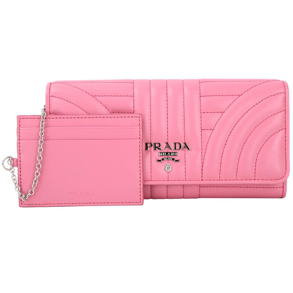 PRADA Diagramme 絎縫小牛皮釦式長夾(可拆式証夾/粉色)PRADA