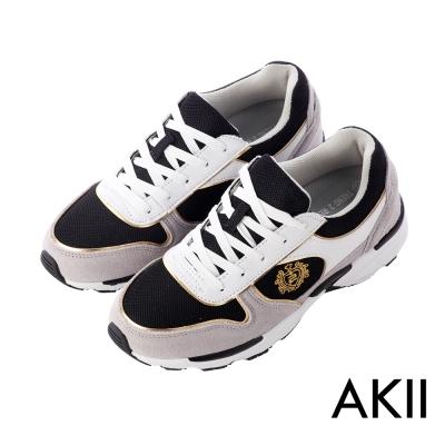 AKII韓國空運‧雙彈動力氣墊大底名牌款內增高休閒鞋-黑灰色