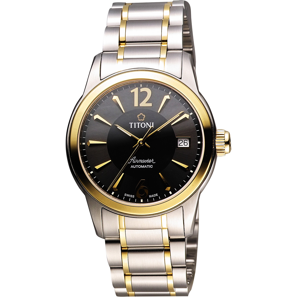TITONI Airmaster 紳士時尚機械腕錶-黑x雙色版/37.8mm