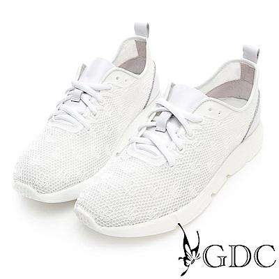 GDC-真皮運動風綁帶透氣舒適休閒步鞋-白色