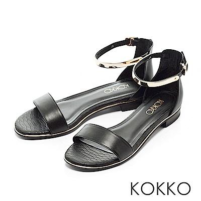 KOKKO-巴黎金屬繫踝一字帶平底涼鞋-優雅黑