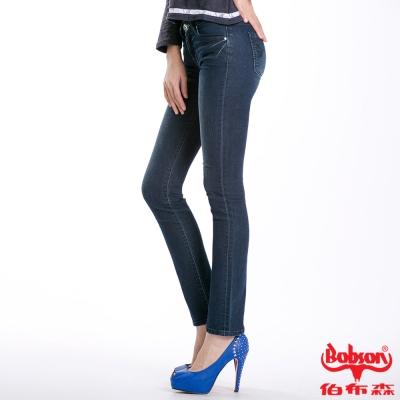 BOBSON 女款秀士布刺繡鑽飾小直筒褲(藍52)