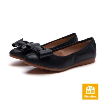 鞋櫃ShoeBox-平底鞋-軟底鬆緊蝴蝶結娃娃鞋-黑