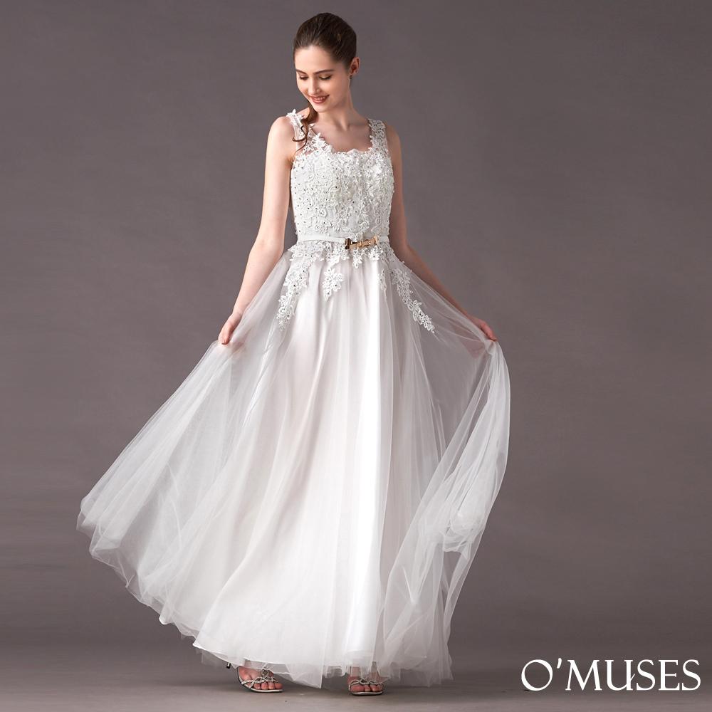 珍珠刺繡蕾絲花伴娘長禮服-OMUSES