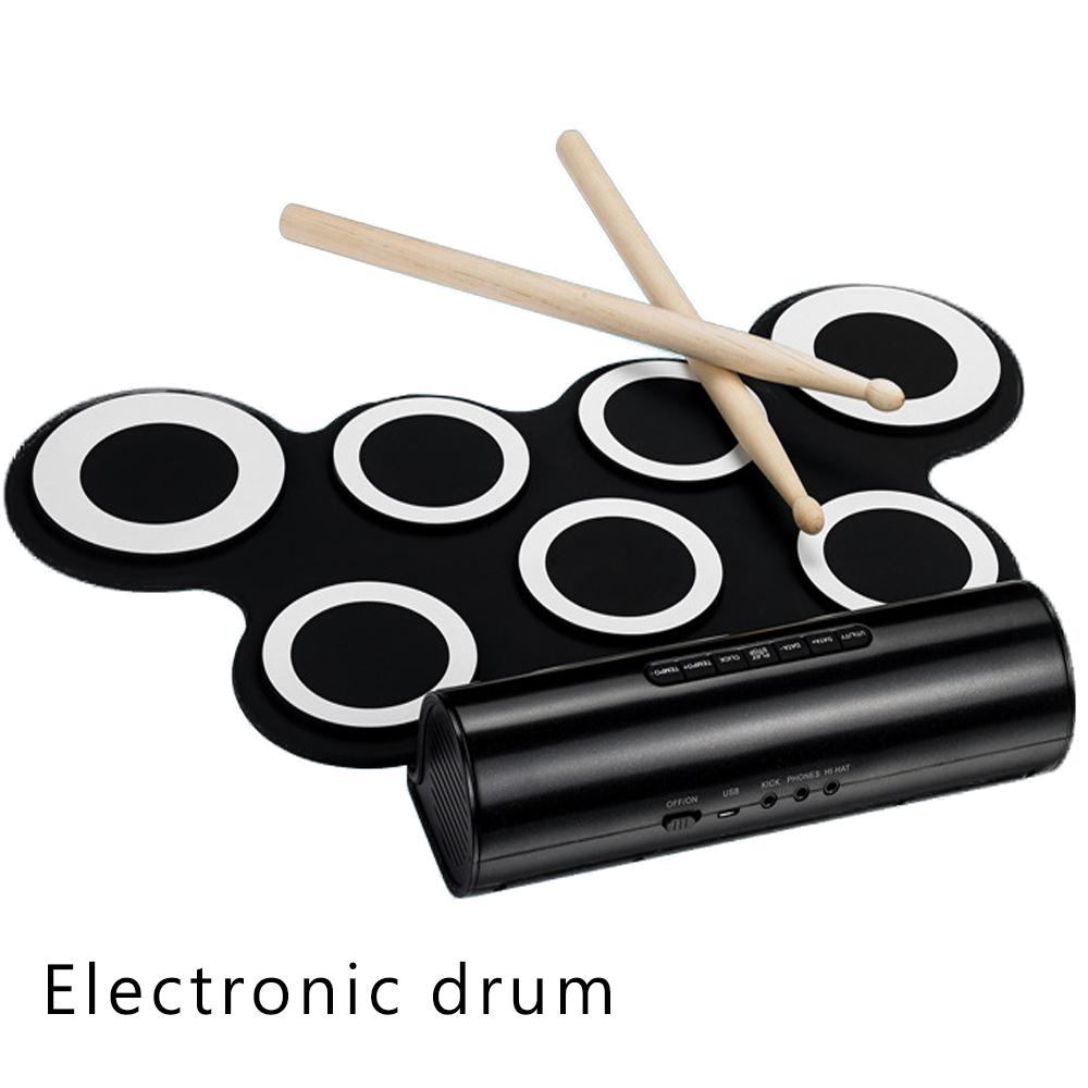 手捲電子鼓 送譜架+鼓棒+遊戲光碟+全配,爵士鼓直取音,可接耳機、MIDI、音源線,電子鼓