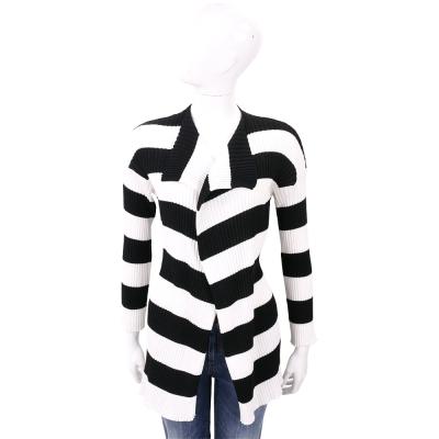 BOUTIQUE MOSCHINO 黑白條紋長版開襟棉質外套