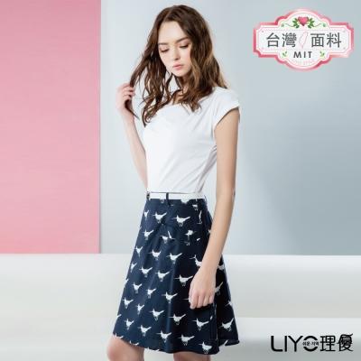 LIYO理優歐風假兩件式印花洋裝(白色)