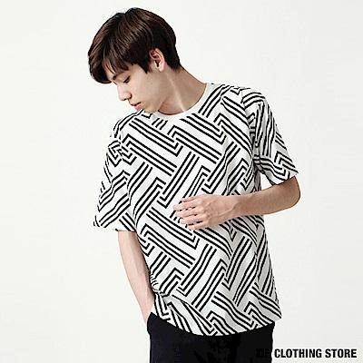 幾何滿版印花T恤(6色) ZIP日本男裝