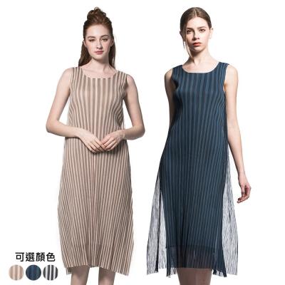 優雅無袖直條紋網紗壓摺洋裝(共三色)-玩美衣櫃