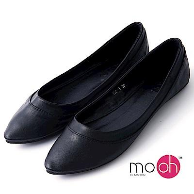 mo.oh-尖頭柔軟素面百搭娃娃鞋-黑色