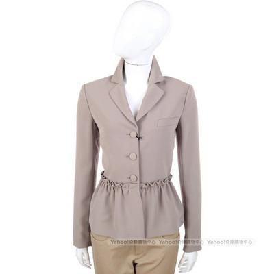 MOSCHINO 卡其灰色抓皺荷葉造型西裝外套