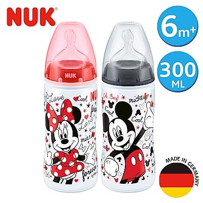 NUK米奇寬口徑PP奶瓶300ml-附2號中圓洞矽膠奶嘴6m+(顏色隨機出貨)