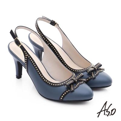 A.S.O 注目嬌點 真皮蝴蝶結鉚釘後空高跟鞋 藍色