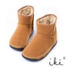 iki2 魅力滿點 冬日真皮機能保暖雪靴- 咖