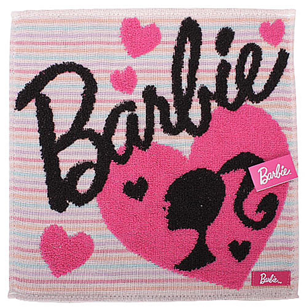 Barbie 休閒芭比條紋棉方巾-粉紅