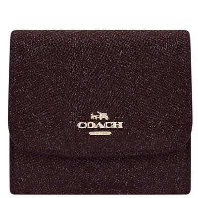 COACH 酒紅色珠光防刮皮革壓釦三摺十一卡短夾