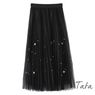 鬆緊腰釘珠網紗裙-共三色-TATA