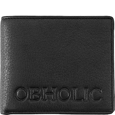OBHOLIC 黑色牛皮短夾皮夾錢包