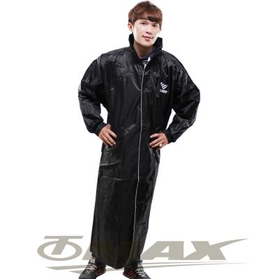 JUMP新二代前開素色雨衣+通用鞋套黑色-黑色