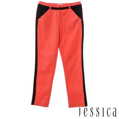 JESSICA-RED-簡約時尚雙色拼接長褲-紅