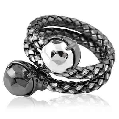 MONT BLANC 萬寶龍 金鋼銀色編織雙圈造型純銀戒指-52號