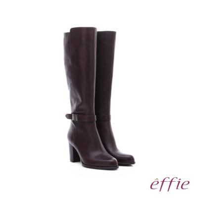 effie 保暖靴 素面牛皮金裝飾扣長靴  咖啡色
