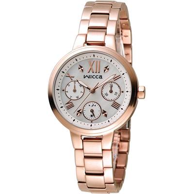 WICCA 英倫少女時尚腕錶(BH7-521-11)-玫瑰金色/34mm