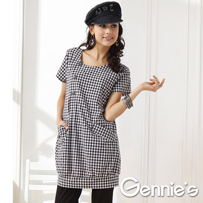 【Gennie's奇妮】個性服飾格紋春夏孕婦哺乳洋裝-黑格紋(GNA11)