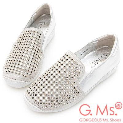 G.Ms. 鏤空貼鑽牛皮休閒懶人鞋-銀色