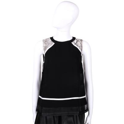 CLASS roberto cavalli 黑色蛇紋拼接無袖紗質上衣